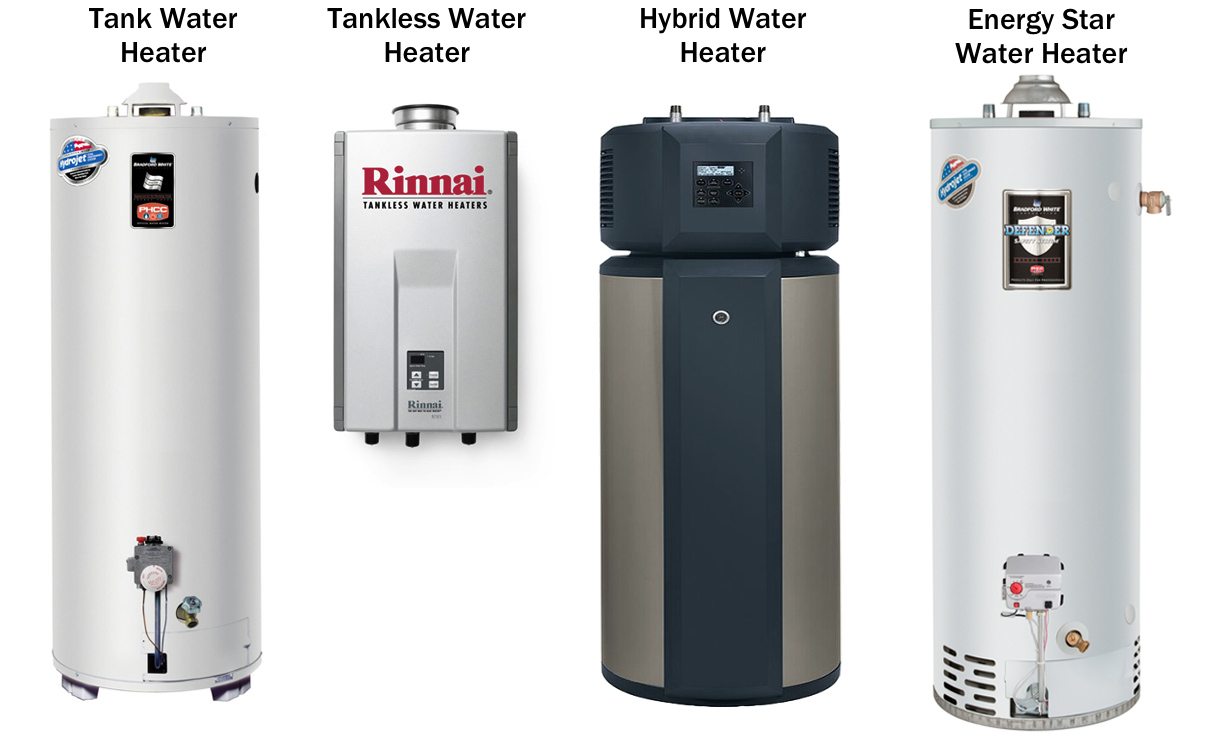Some of the different water heaters we can install in your home.